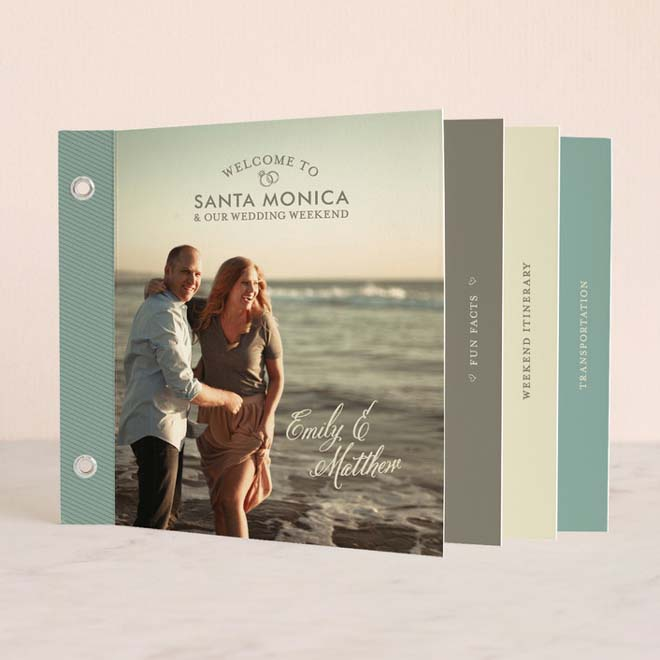 Minibook-style Invitation for a Santa Monica Wedding