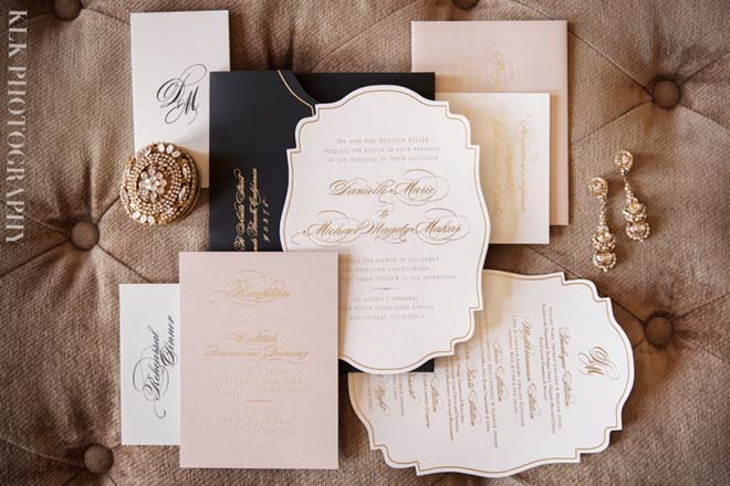 Blush, Gold and Black Invitation Suite for a Vibiana, LA Wedding