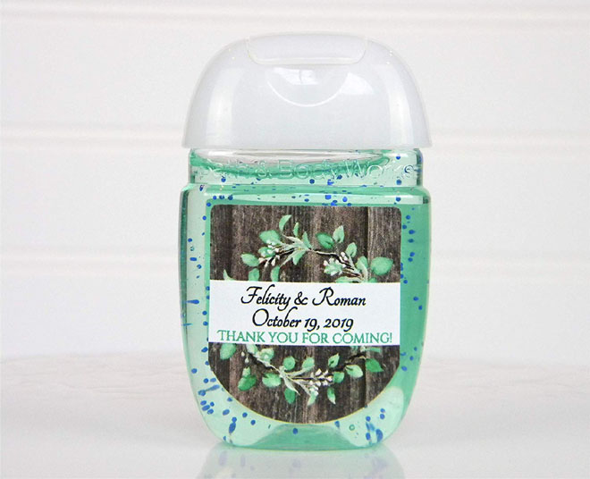 Personalized Farmhouse Eucalyptus Sanitizer Favors - from Amazon