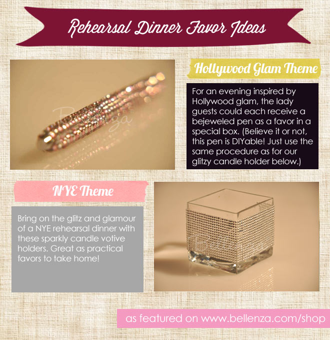 Sparkly jeweled pens and candle votive holder