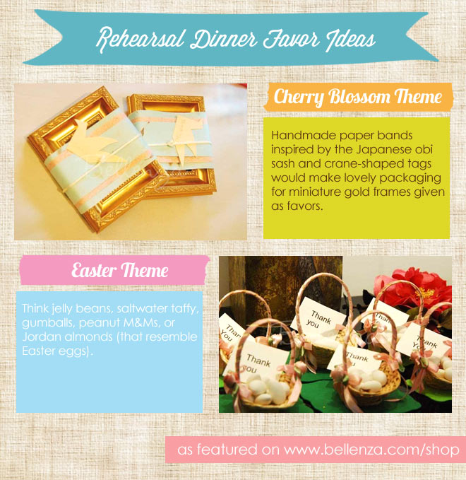 Gold favor frames and candy pink baskets