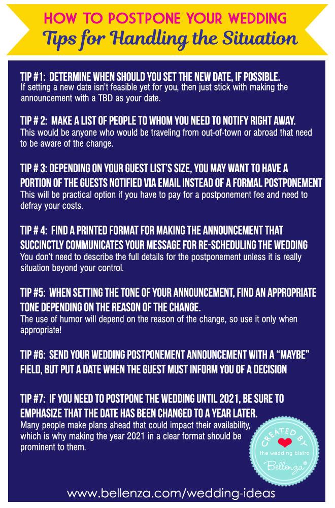 How to postpone your wedding due to the coronavirus