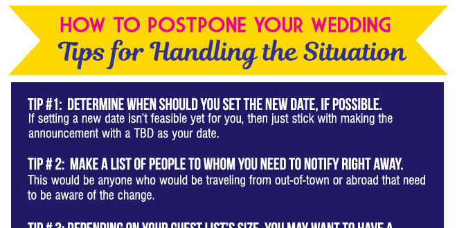 Postponing Your Wedding in 2020: Tips to Handle the Situation Gracefully Due to Coronavirus