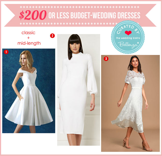 Mid-length budget dresses in white