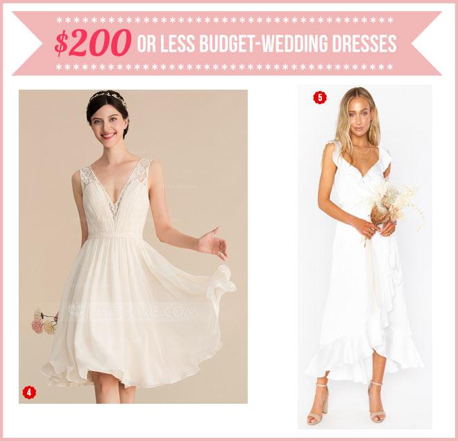 Mid-length budget-wedding dresses