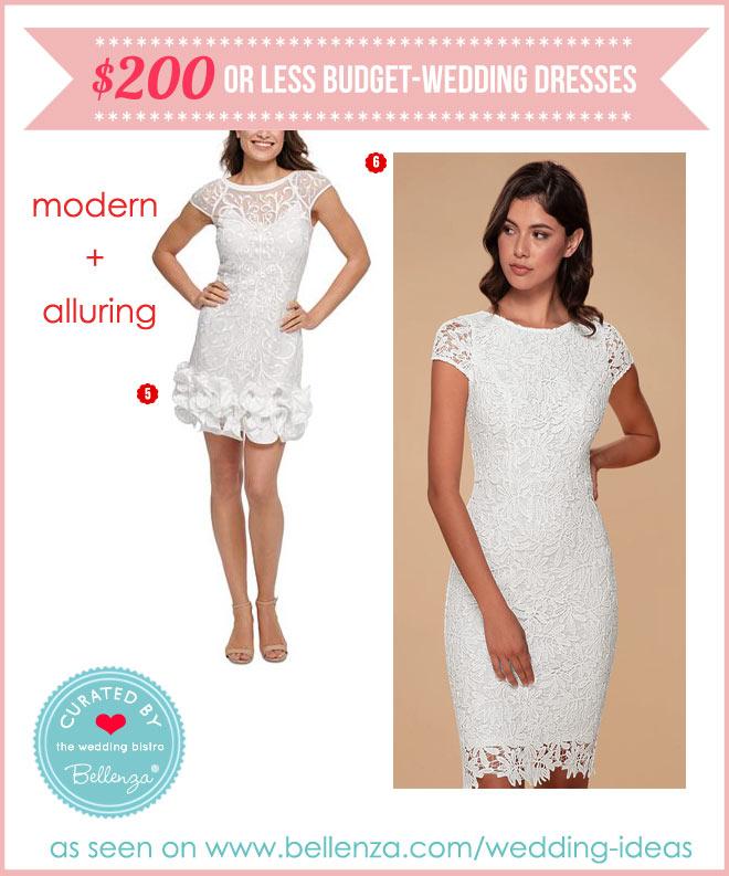 Short modern dresses in white for weddings