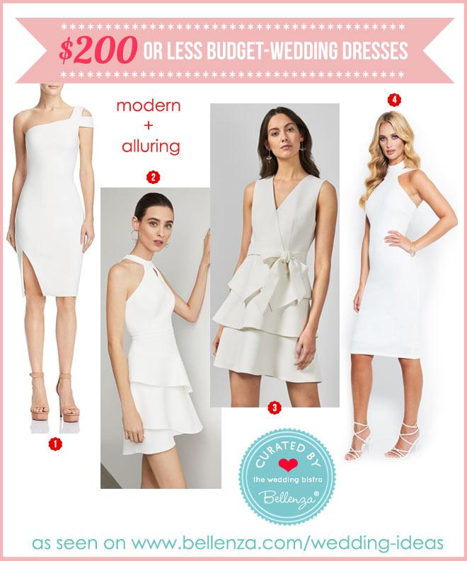 Less $200 modern wedding dresses