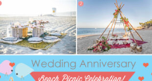 Picnic anniversary on the beach