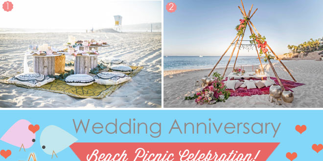 Picnic anniversary on the beach