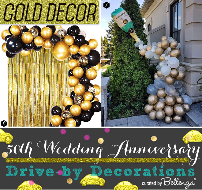 Gold and Champagne Decorations for 50th Wedding Anniversary Drive-by Parade