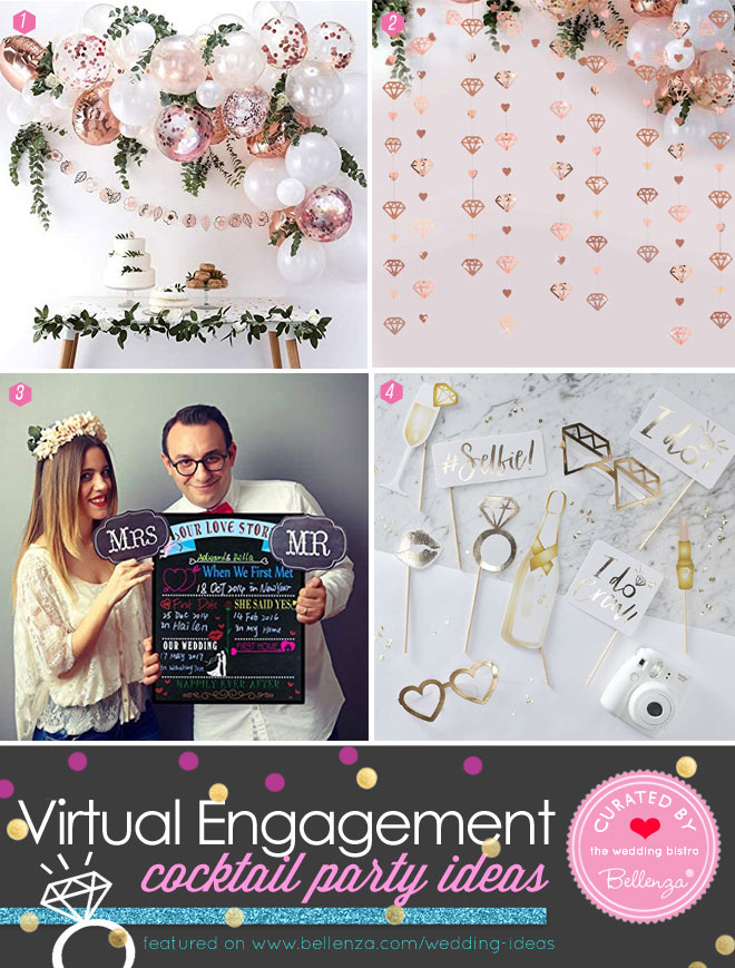 Virtual Engagement Party Decor and Games