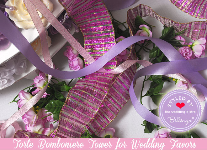 Add pink, lilac, and shiny varied colored ribbons.