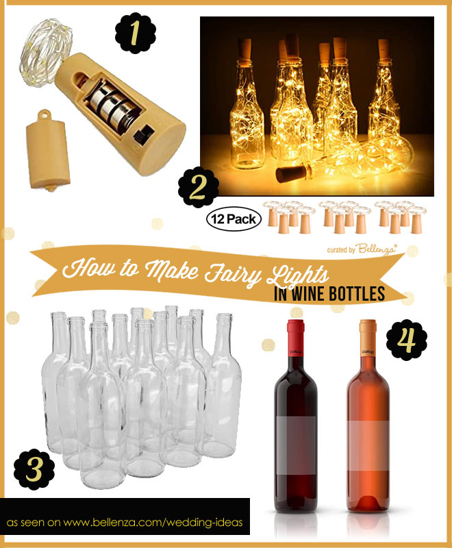 Wine Bottle with Fairy Lights as Wedding Decorations
