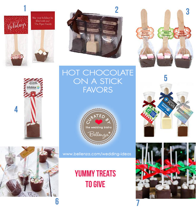 Hot chocolate on a stick or spoon to give as winter wedding favors