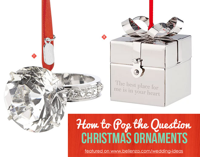 Engagement ring and box Christmas ornaments