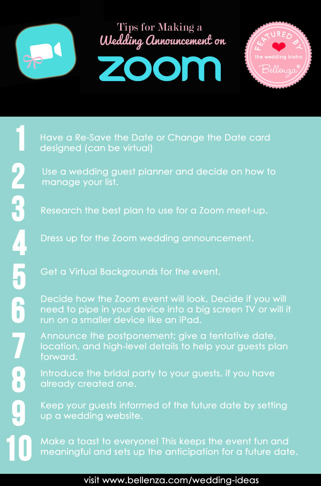 Tips for ZOOM wedding announcement