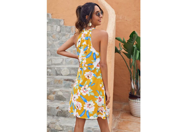 Tie Back Allover Floral Print Halter Dress