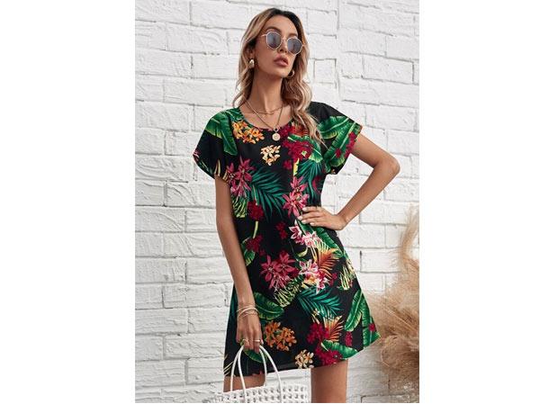 Butterfly Sleeve Plants Print Dress