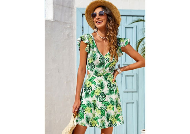 Backless tie tropical green print dress