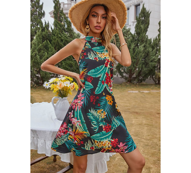 Tie-back Tropical Print Dress and matching hat