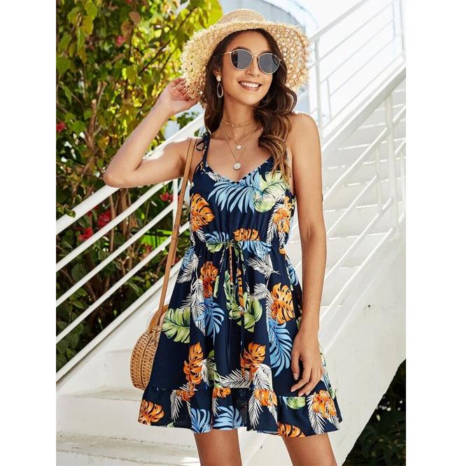 Ruffled skirt tropical cami dress