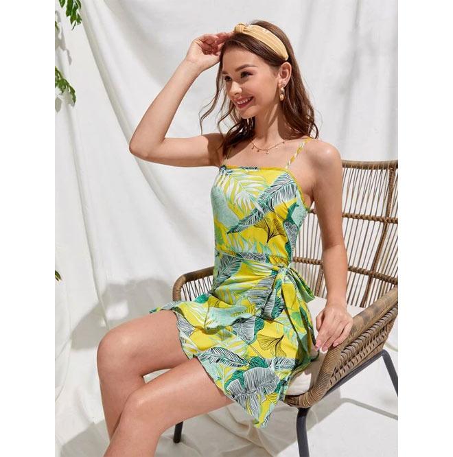 Tropical wrap cami dress