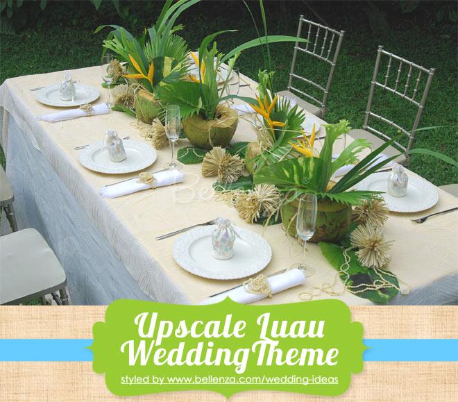 Upscale luau for a micro wedding reception