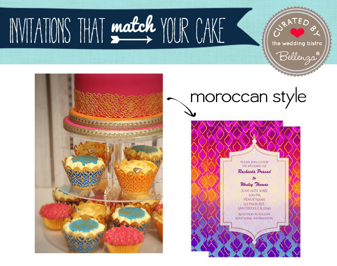 Bright Moroccan Style cake matching invitation with fuchsia, gold, and pink
