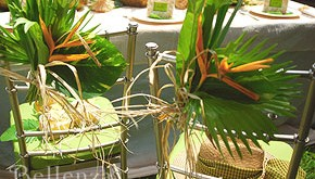 tropical wedding chair decorations with leaves