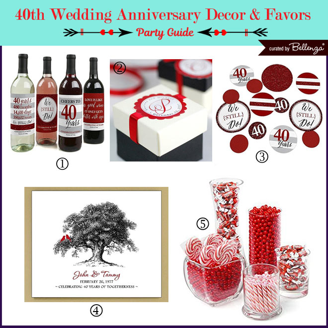 40th Anniversary Decor and Favor Ideas // Curated by Bellenza.