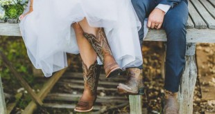Image provided by Bwedding Invitations. Bride and groom in boots.