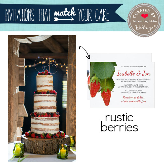 Rustic boho with berries cake and invitation