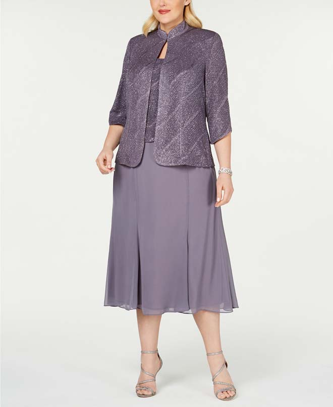 Alex Evenings Plus Size Tea-Length Dress & Jacket