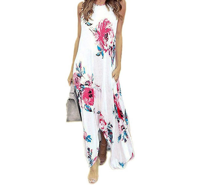 Floral Print Sleeveless Casual Beach Maxi Dress