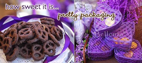 Chocolate pretzels in a purple heart box