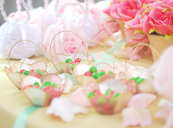 Pink and green treats for a Lily Pulitzer themed tea party.