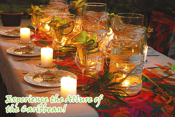 Caribbean tablescape in red and yellow.