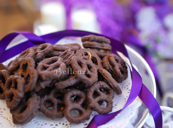 Chocolate covered pretzels - bridal shower treats for an afternoon tea party