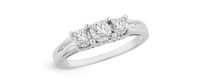 Diamond Three-Stone Ring in Sterling Silver from Zales