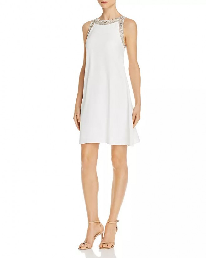 mini swing silhouette dress in white
