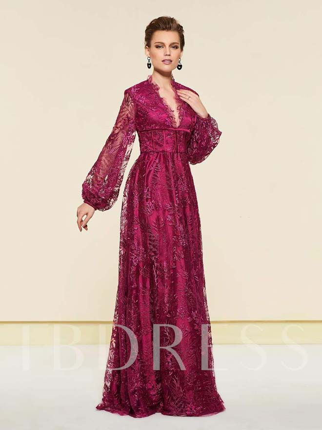 Lace Mother of the Bride Dress with Long Sleeves