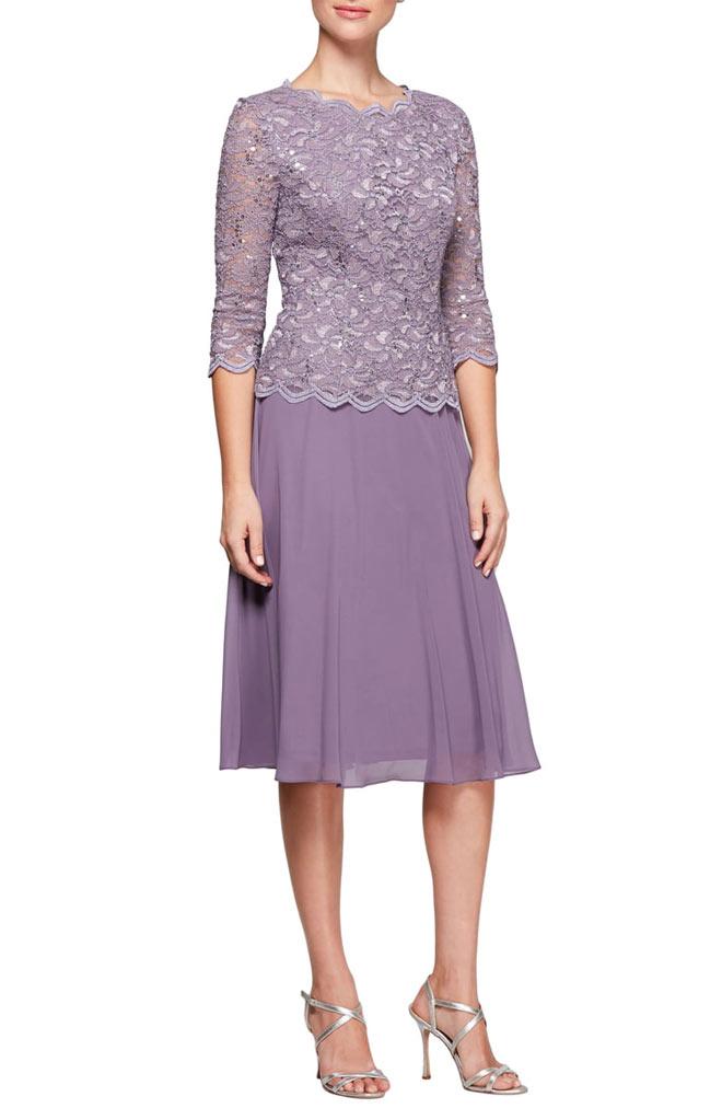 Mock Two-Piece Tea Length Dress