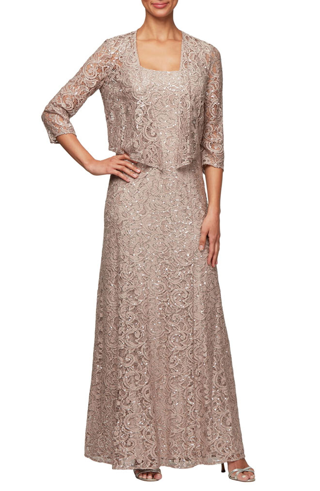 Sequin Lace Jacket Gown in Gold