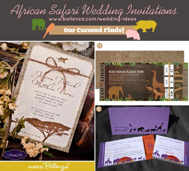 Simple African safari wedding invitations