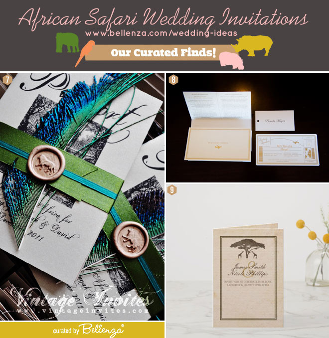 African safari and peacock feather invitations