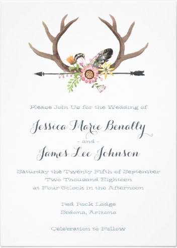 Wildflower Arrow and Antlers Wedding Card via Zazzle