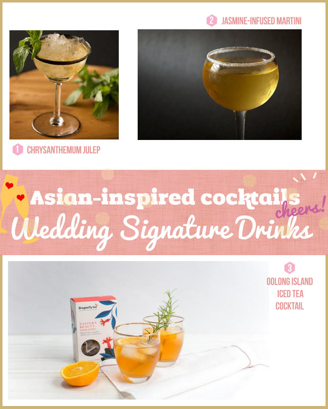 Tea like oolong and jasmine-infused cocktails. Also, liqueur infused cocktail.