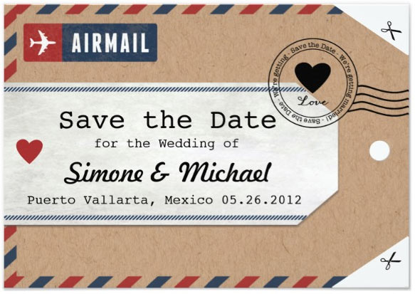 Bahamas Airmail Luggage Tag Save the Date with Map Card