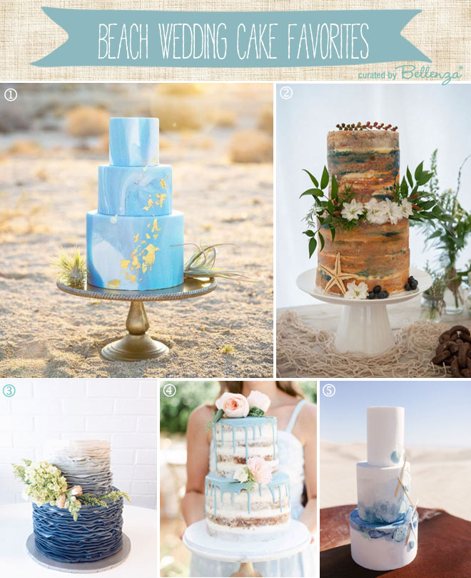 Beach Wedding Cake Styles From Ombre to Marbled to Drip to Minimalist.
