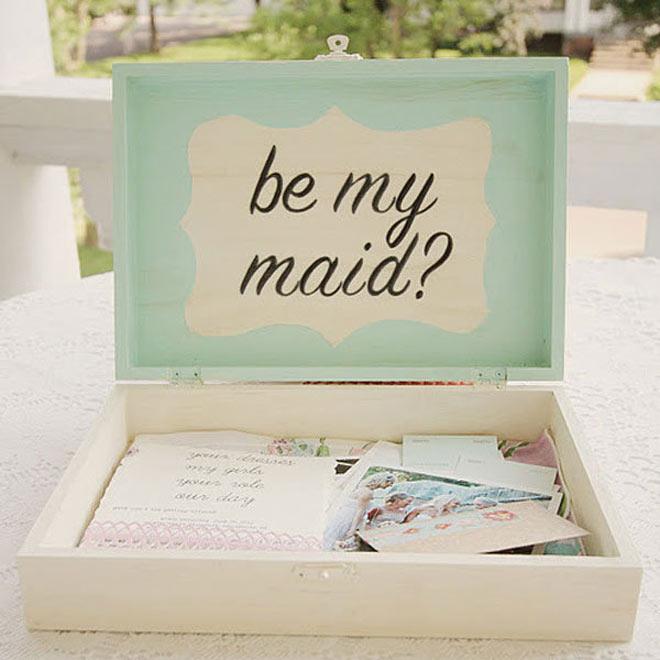 Be my maid in seafoam green box